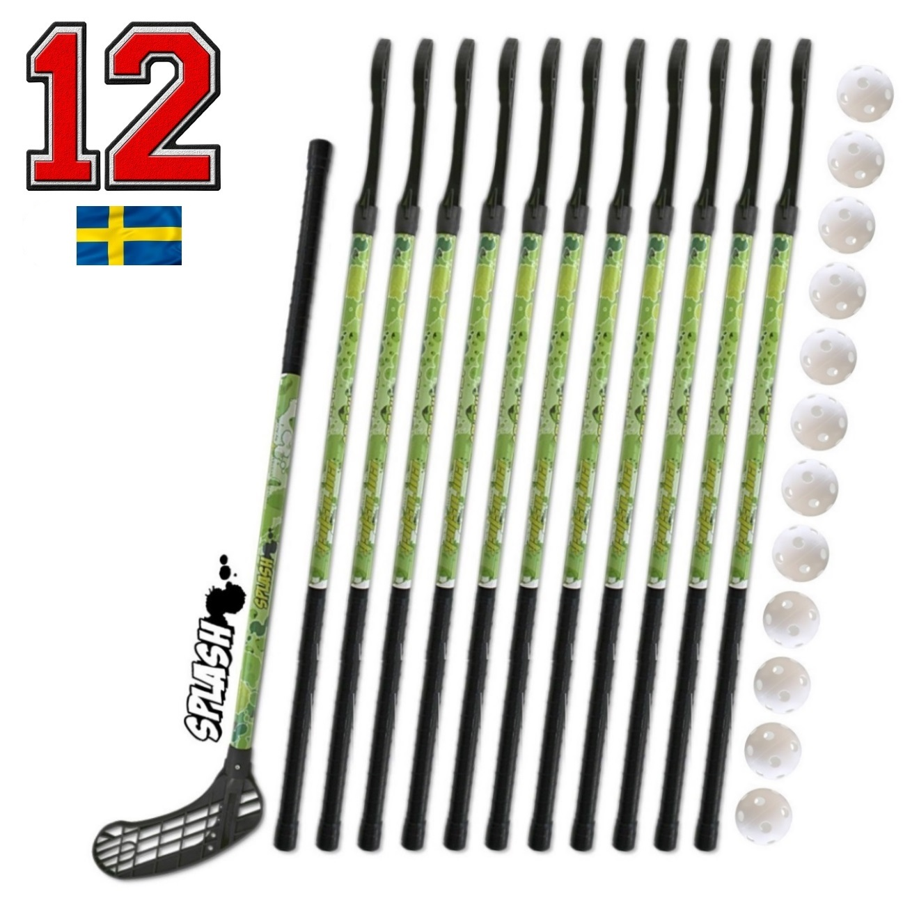 Florbalová sada Eurostick SPLASH GREEN 95 cm 12+12 set