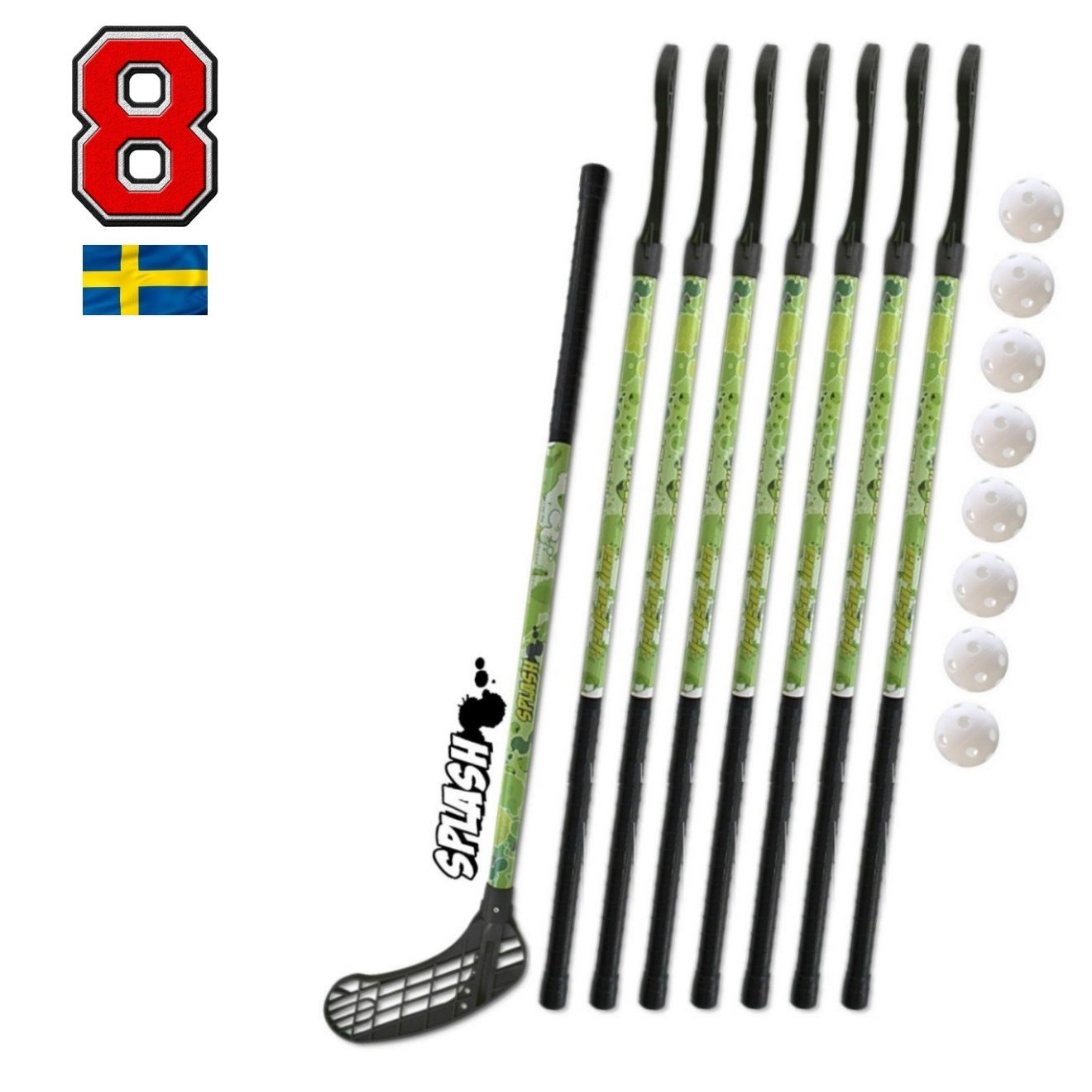 Florbalová sada Eurostick SPLASH GREEN 95 cm 8+8 set